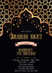 Arabian night birthday party invitation