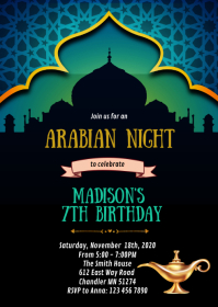 Arabian night birthday party invitation A6 template