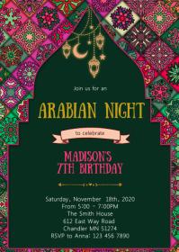 Arabian night birthday party invitation A6 template