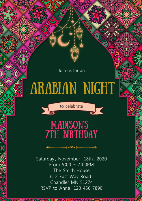 Arabian night birthday party invitation