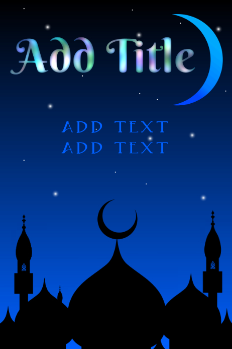 arabic night with buildings and moon