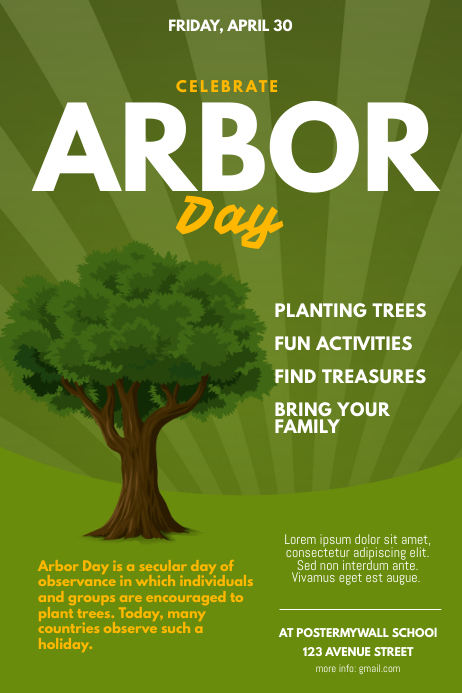 Arbor Day Celebration Flyer Template Poster