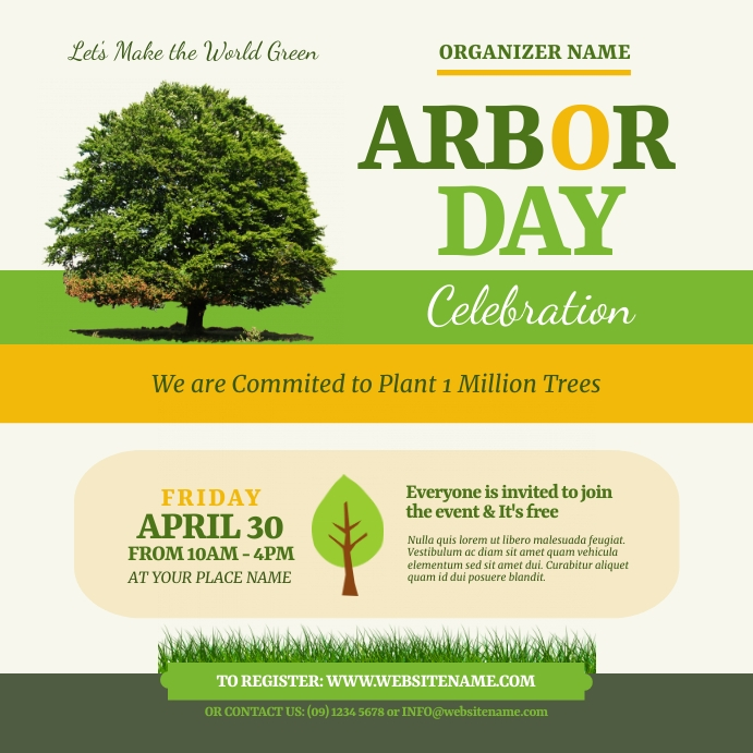 Arbor Day Event Instagram Post template
