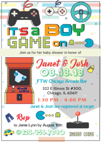 Arcade Baby Boy Shower Invite