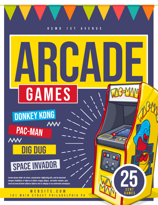 Arcade Flyer (US-Letter) template