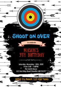 Archery birthday birthday invitation A6 template