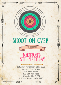 Archery birthday party invitation