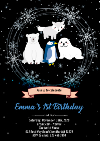 Arctic animals party invitation A6 template