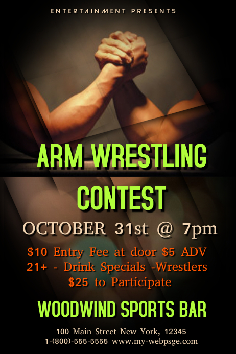 Arm Wrestling Tournament Template Postermywall