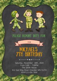 Army Birthday Party Invitation A6 template