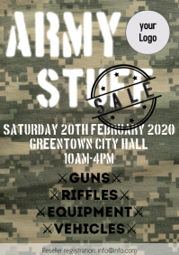 army stuff sale flyer template a4 comouflage