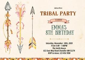 Arrow tribal birthday party invitation A6 template