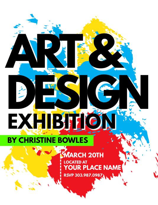 art  u0026 design exhibition flyer template