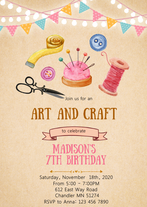 Art and craft birthday party invitation A6 template