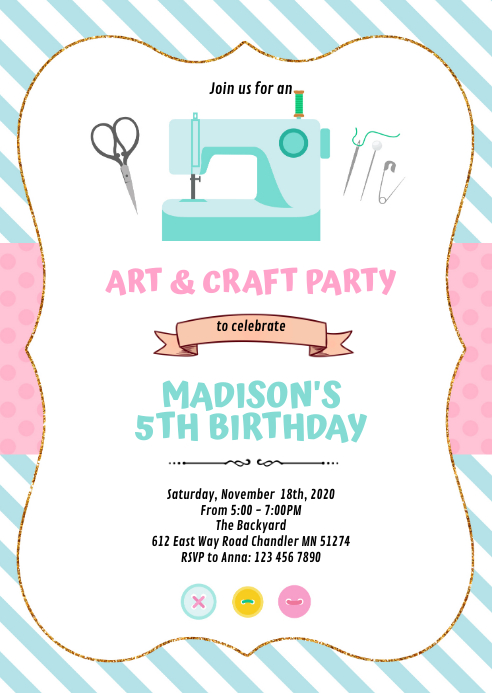 Art and craft sewing party invitation A6 template