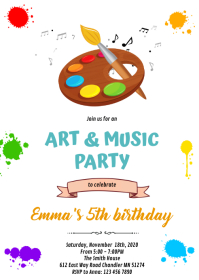 Art and music party invitation A6 template