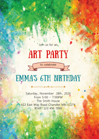 Art birthday party invitation A6 template