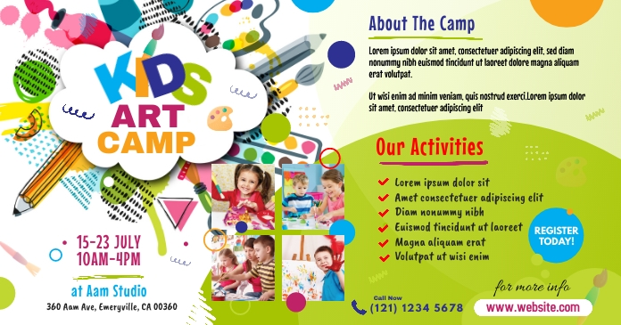 Art Camp Event Ad Facebook Shared Image template