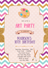 Art craft birthday invitation