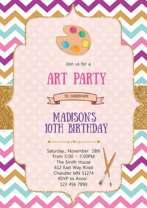 Art craft birthday invitation