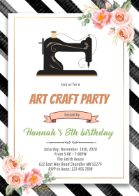 Art crafty sew party invitation A6 template