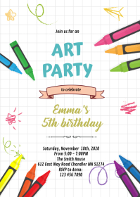 Art crayon party invitation A6 template