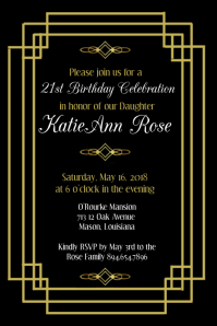 Art Deco Birthday Invitation Affiche template
