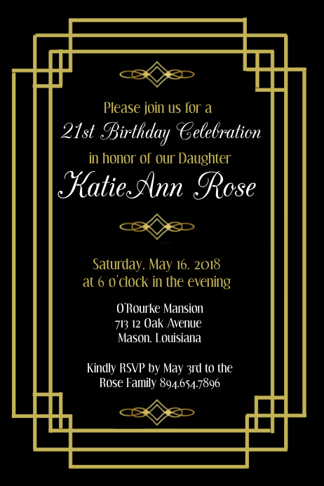 Art Deco Birthday Invitation Template Postermywall