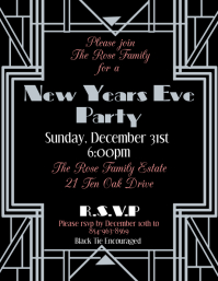Art Deco New Years Eve Flyer (US-Letter) template