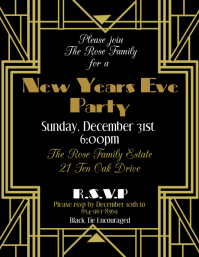 Art Deco New Years Eve Pamflet (Letter AS) template