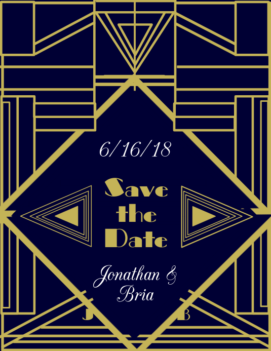 Art Deco Save the Date Pamflet (Letter AS) template