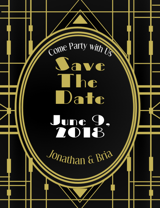 Art Deco Save The Date Template Postermywall
