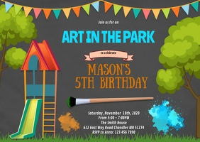 Art in the park birthday invitation A6 template