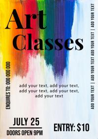 Art paint classes flyer template