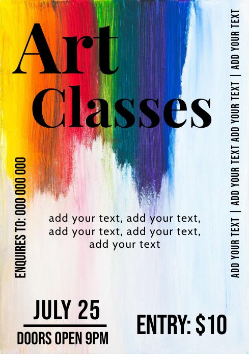 Art paint classes flyer template A4
