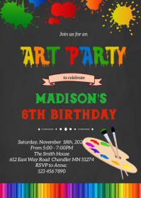 Art painting birthday party invitation A6 template