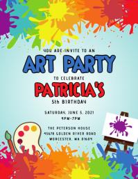 Art Party Birthday Invitation A6 template