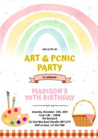 Art picnic birthday party invitation A6 template