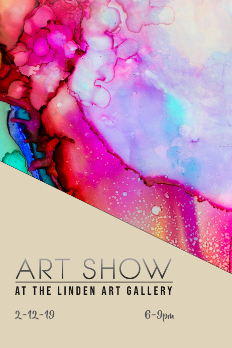 art show gallery reception flyer poster template