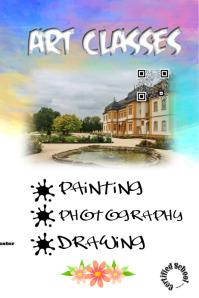 Art workshop and classes promotion flyer