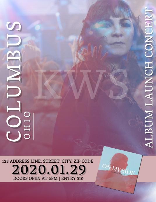 Artist Album Launch Concert Tour Template Flyer (Letter pang-US)