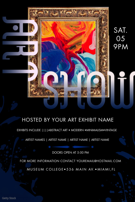 Artist Showcase Art Event Poster Cartaz template