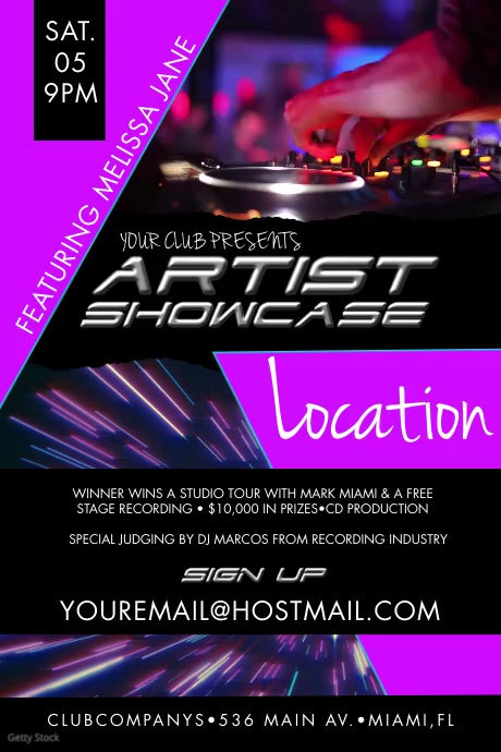 Artist Showcase Event Poster Plakat template
