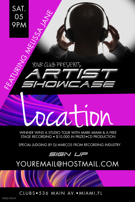 Artist Showcase Event Poster template