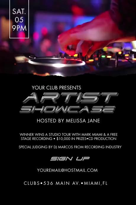 Artist Showcase Event Poster Video Plakkaat template