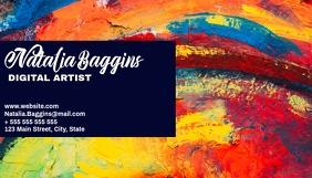 Artistic colorful business card design templa
