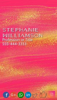 Artistic Gold Glitter Pink Paint Deco Font Besigheidskaart template
