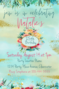 Artistic Modern Floral Gold Birthday Invite Grafica Pinterest template