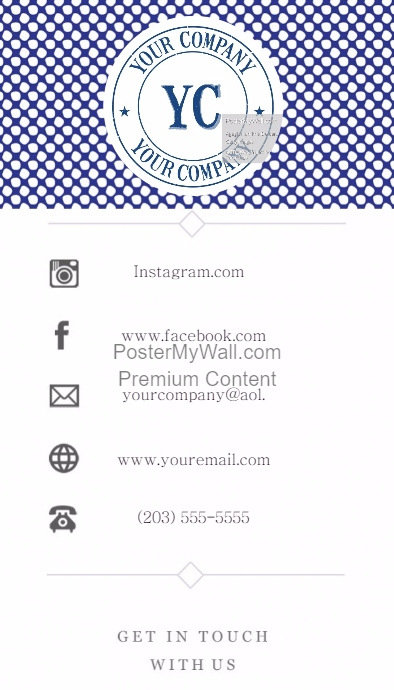 artsy blue polka dot business card template contact info postermywall