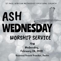 Ash Wednesday Church Worship Service Flyer